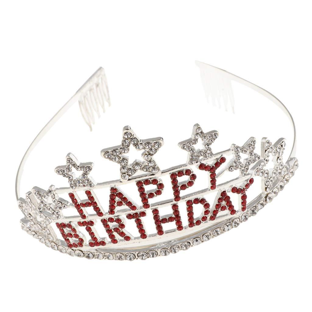 Homyl Happy Birthday Diadème Bandeau Couronne en Strass Charmant Décoration de Coiffure Fête Anniversaire