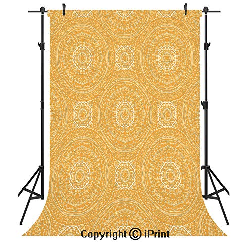 Yellow Mandala Photography Backdrops,Delicate Paisley Figures in Thin Floral Circles Lace Style Old Fashioned Decorative,Birthday Party Seamless Photo Studio Booth Background Banner 3x5ft,Orange White