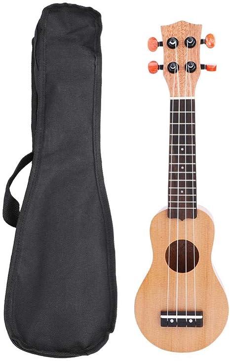 Dilwe 17 Pulgadas Ukulele, Portátil Ukulele Sólido Mini Viajar Guitarra con Bolsa (Pino Rojo): Amazon.es: Deportes y aire libre