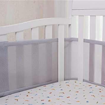 Breathable Soft Lightweight Baby Crib Liner Bumper White BMKY