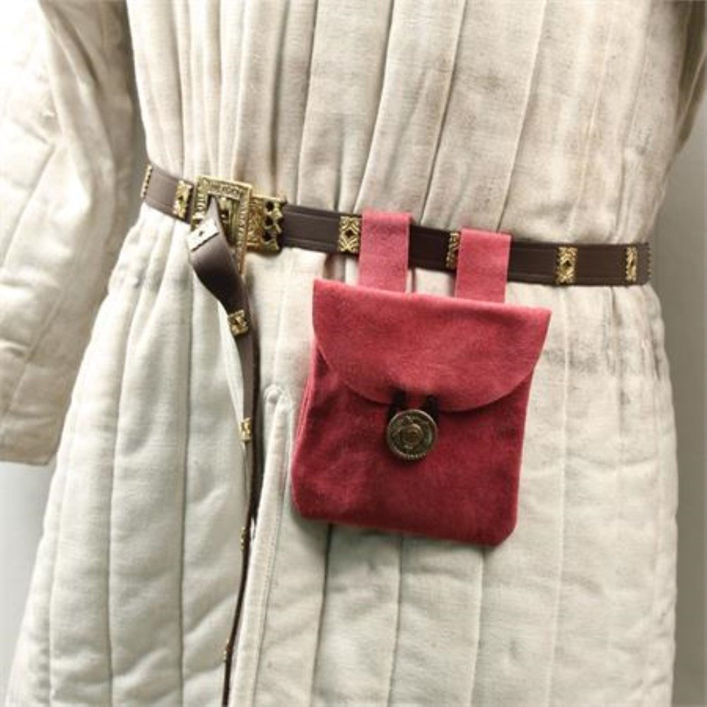 Blushine Pink Small Medieval Renaissance Rose Pink Suede Leather Belt Pouch by General Edge (Image #2)