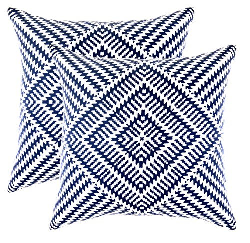 Throw Pillow Covers Fabric - TreeWool Throw Pillowcase Kaleidoscope Accent Pure Cotton Decorative Cushion Cover (24 x 24 Inches / 60 x 60 cm; Navy Blue) - Pack of 2