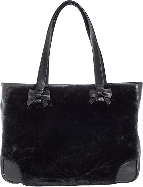 0fff030626c7 Amazon.com  Sourpuss Brand - Black Faux Fur Sure - Tote Bag Purse ...