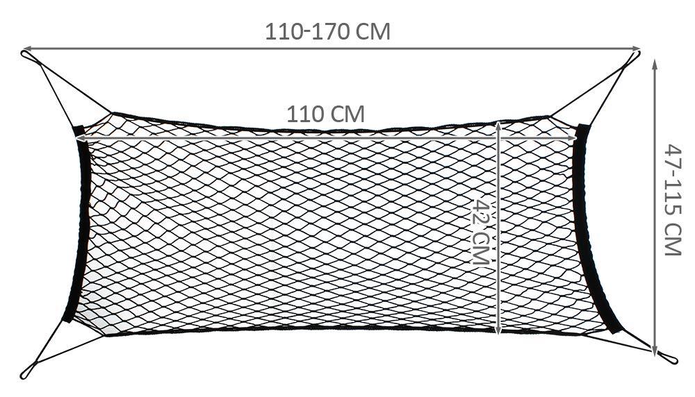 Kofferraumnetz 170x110cm Elastisch Gep/äckschutz Set Schrauben Clips Rundkn/öpfe #5354