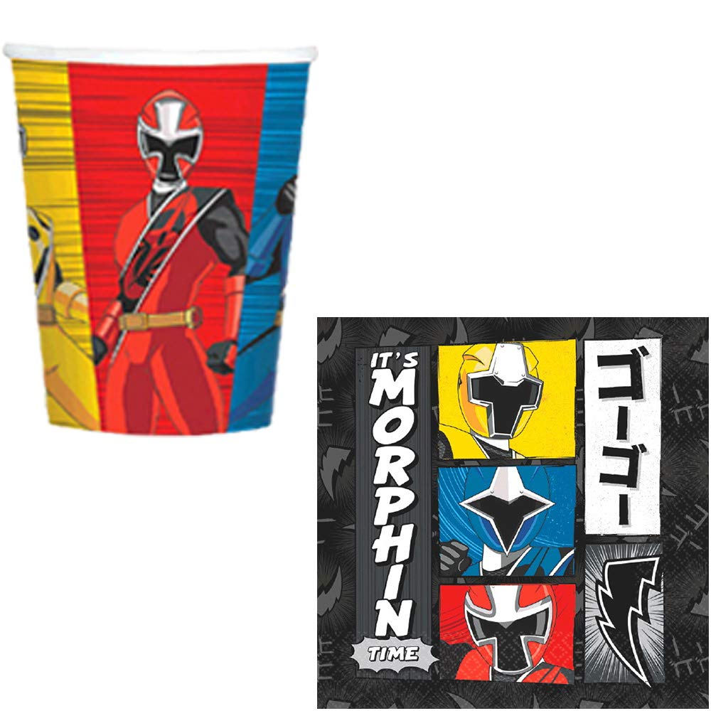 The Ultimate Power Rangers Ninja Steel Birthday Party Supplies Pack For 16 With Plates, Cups, Napkins, Tablecover, Candles, Garland, Add An Age Birthday Banner, and Exclusive Pin By Another Dream by Another Dream (Image #3)