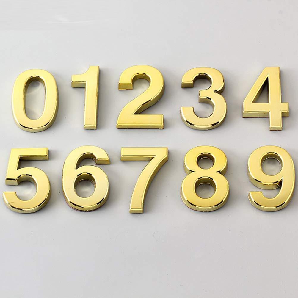 Golden Vosarea 3D-Hausnummer 0-9 Aufkleber T/ürnummer Zimmernummer f/ür Haus Hotel T/ür Adresse Zeichen 5 cm 10 St/ücke