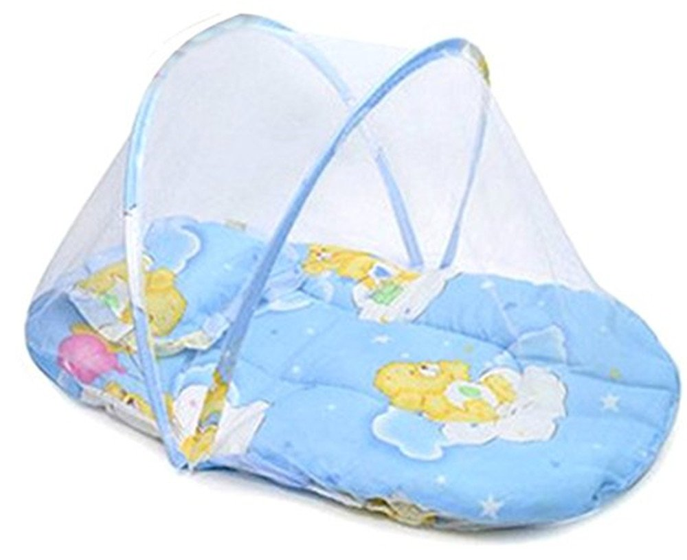 SZHOWORLD Foldable Baby Infant Mosquito Insect Net Cotton Mattress for Cradle Bed Portable with Pillow (Blue)
