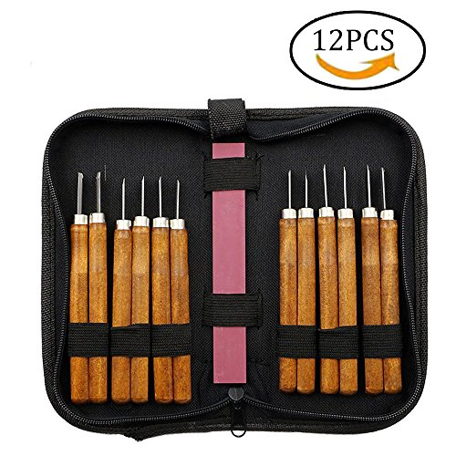 Samhe Wood Carving Knife Hand Chisels Tools Kit for Carpenters with Whetstone professional pack (12pcs)