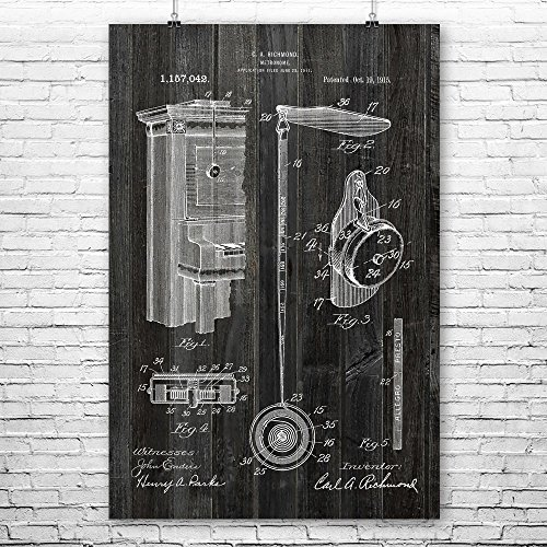 Patent Earth Retractable Metronome Poster Print, Musician Gift, Music Teacher, Piano Player, Vintage Music, Audio Technician Weathered Wood (24