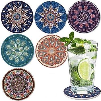 Dingheng Untersetzer Saugfähige Keramik Untersetzer Mit Korkrücken Mandala Stil Für Tassen Tisch Bar Glas 6er Set Küche Haushalt