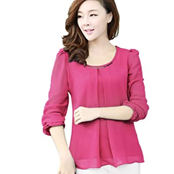 0e020f8fc2c Amazon.com  Sothread Women Summer Blouse Fold Casual Shirt Chiffon Long  Sleeve Tops Loose Office Dress (XL