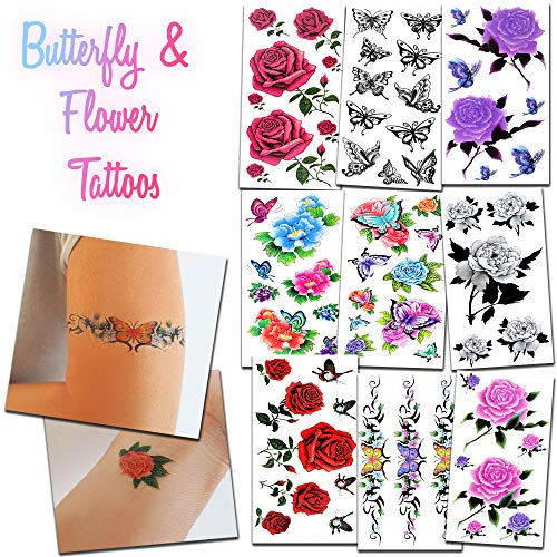 40+ Beautiful Temporary Tattoos - Flowers and Butterflies - For Women and Girls for Arms Legs Shoulder or -