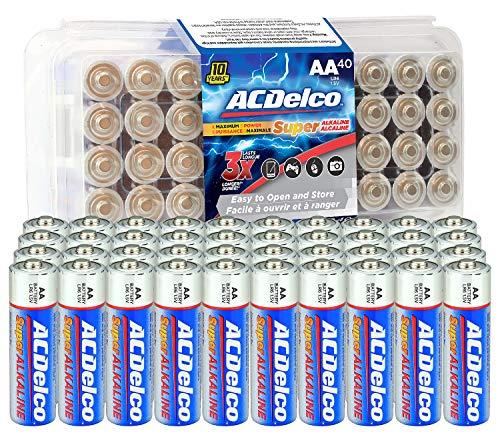 ACDelco 40-Count AA Batteries, Maximum Power Super Alkaline Battery, 10-Year Shelf Life, Recloseable Packaging