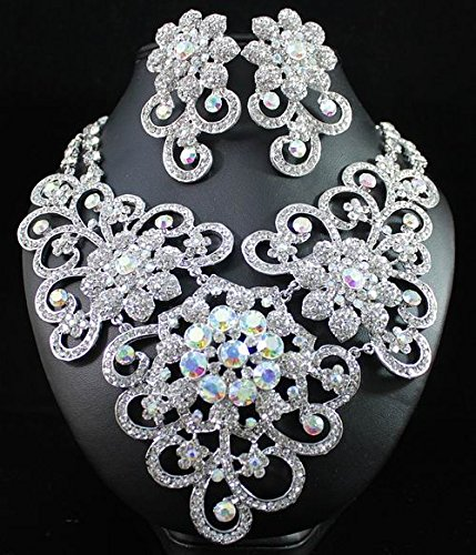 JANEFASHIONS QUEEN AUSTRIAN RHINESTONE CRYSTAL BIB NECKLACE EARRINGS SET BRIDAL SILVER OR GOLD N1426 (Crystal Rhinestone Bib Necklace)