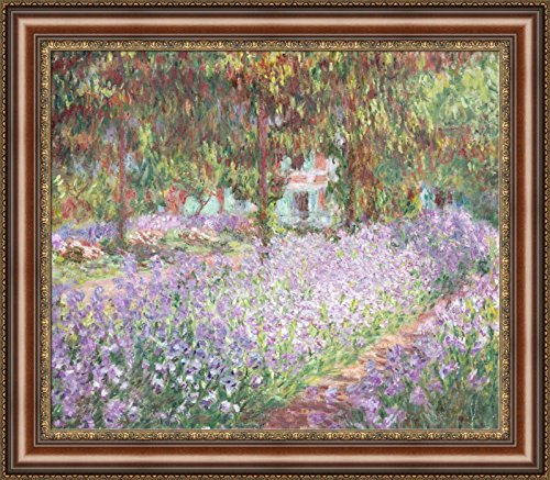 Claude Monet Irises in Monet Garden Framed Canvas Giclee Print - Finished Size (W) 31.4'' x (H) 27.4'' [Brown/Gold] (S14-26F-MD393-03) - Enhanced Image ()