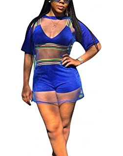 51c92fca57f Ophestin Women Short Sleeve 3 Piece Outfits Rompers Strap Stripe Crop Top  Shorts Set with Mesh