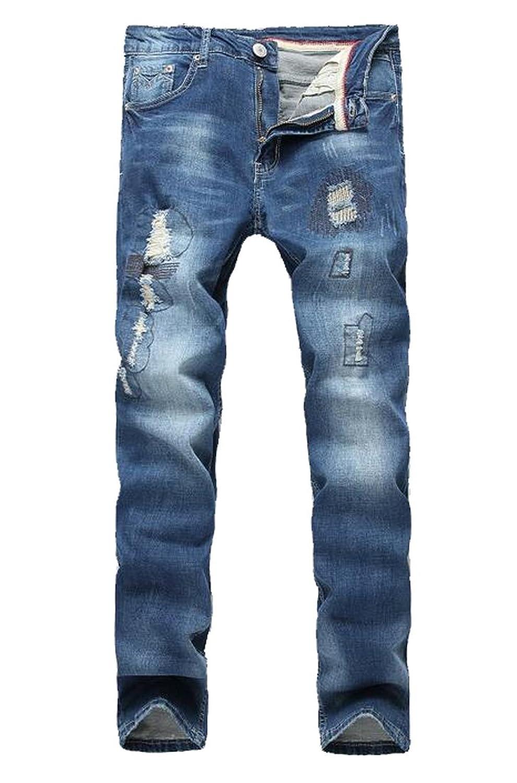 Oberora Mens Skinny Ripped Destroyed Slim Straight Fit Jean Pants