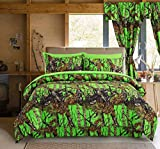 Regal Comfort The Woods Bio Hazard Green Camouflage Twin 4 Piece Premium Luxury Comforter, Bed Skirt, and 2 Pillow Shams Set - Camo Bedding Set For Hunters Cabin or Rustic Lodge Teens Boys and Girls