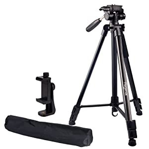 """Regetek Travel Camera Tripod (Aluminum 63"""" Adjustable Camera Stand with Flexible Head) -Portable Tripod for Canon Nikon Sony DV DSLR Camera Camcorder Gopro Action Cam/iPhone & Carry Bag & Phone Mount"""