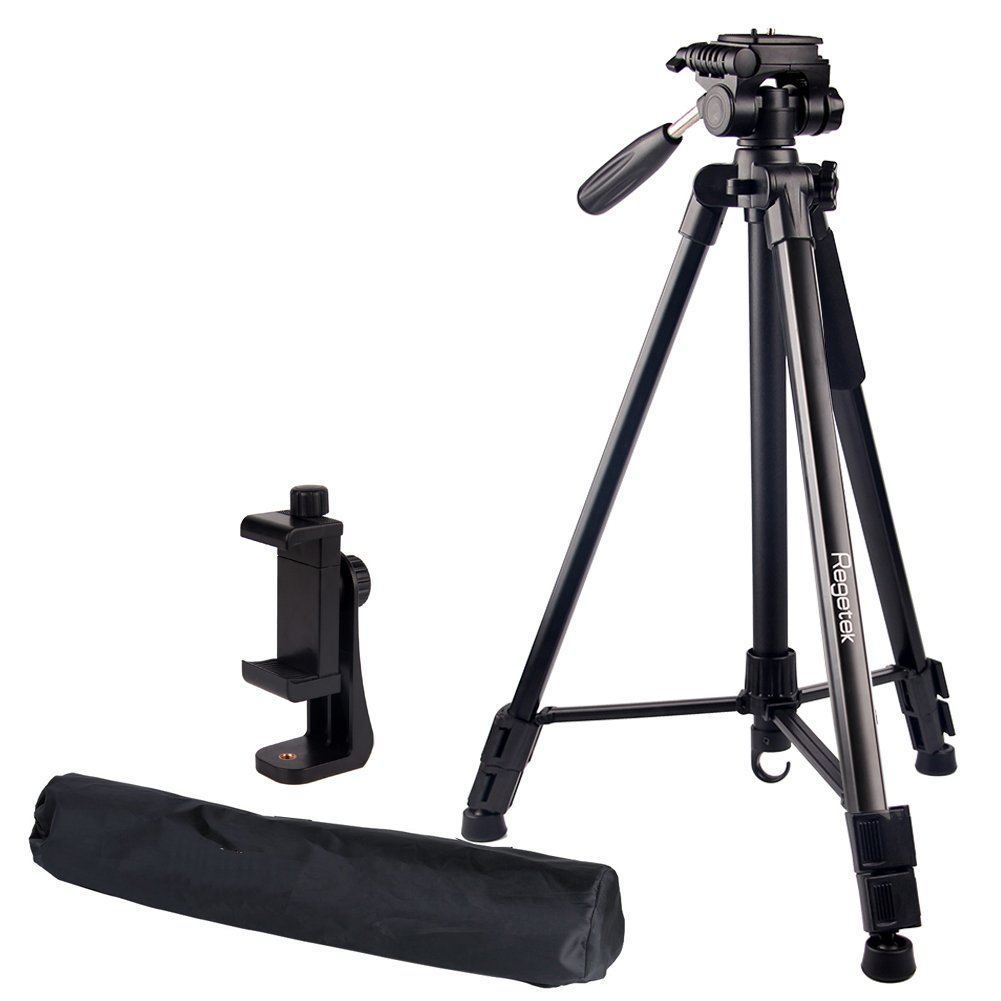 "Regetek Travel Camera Tripod (Aluminum 63"" Adjustable Camera Stand with Flexible Head) -Portable Tripod for Canon Nikon Sony DV DSLR Camera Camcorder Gopro Action Cam/iPhone & Carry Bag & Phone Mount"