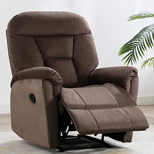 Fabric Recliner Chair, Bonzy Home Reclining Chair Living Room Sofa Chair with Pull Short Plush Comfortable Recliner Chair Chocolate