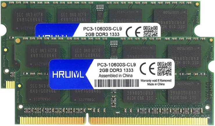 HRUIYL 4GB kit (2×2GB) for Apple DDR3 1333MHz RAM PC3-10600 SODIMM Memory Upgrade for Early/Late 2011 13/15/17 MacBook Pro, Mid 2010 and Mid/Late 2011 21.5/27 iMac, Mid 2011 Mac Mini