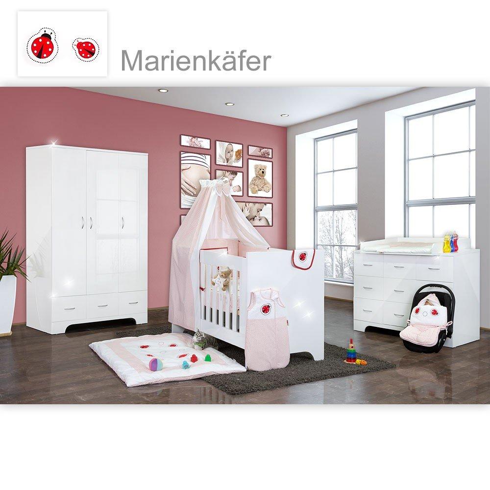 Hochglanz Babyzimmer Memi 19-tlg. mit Textilien von Marienkäfer in Rot
