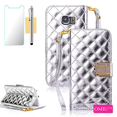 Galaxy S6 Edge Plus Case, OMIU(TM) Grid PU Leather Wallet Bling Flip Magnet Case with Detachable Wrist Strap For Samsung Galaxy S6 Edge Plus (Silver) Sent Stylus,Screen Protector and Cleaning Cloth