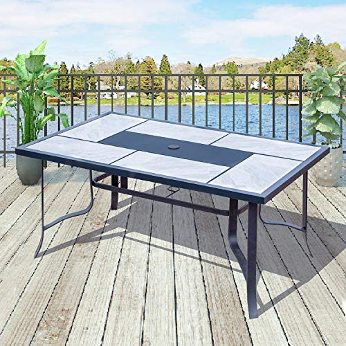 Top Space Outdoor Dining Table Square Bistro Table Patio Furniture with Umbrella Hole for Garden, Yard, Balcony, Porch (63.2″ x 39″ x 29.5″, Beige&Black)