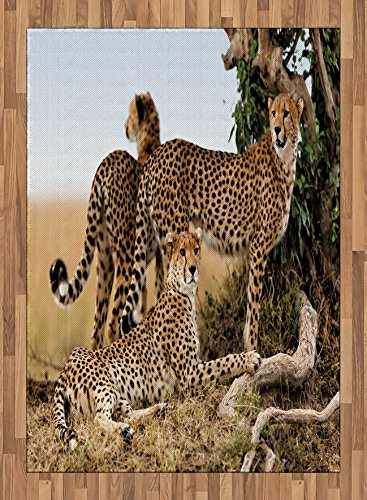 Africa Area Rug by Ambesonne, Cheetahs Mother and Two Young Baby Looking for Food Dangerous Exotic Animals, Flat Woven Accent Rug for Living Room Bedroom Dining Room, 5.2 x 7.5 FT, Tan Black by Ambesonne