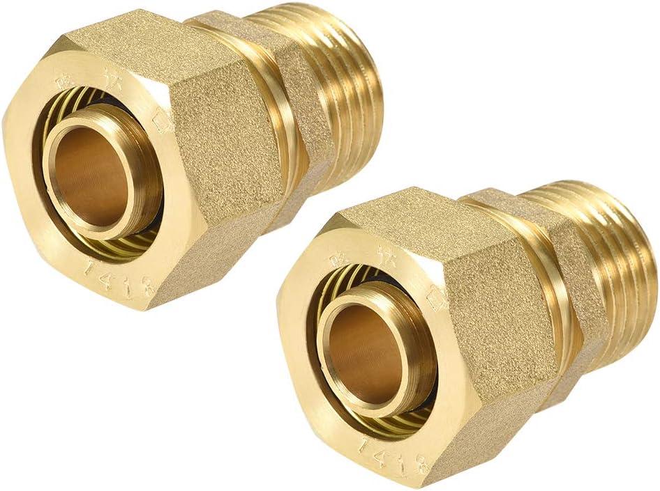 Tubo de compresi/ón de lat/ón para tubo adaptador de tubo OD X macho tono dorado 14mm Tube OD x 1//2 G Male-2pcs Sourcingmap