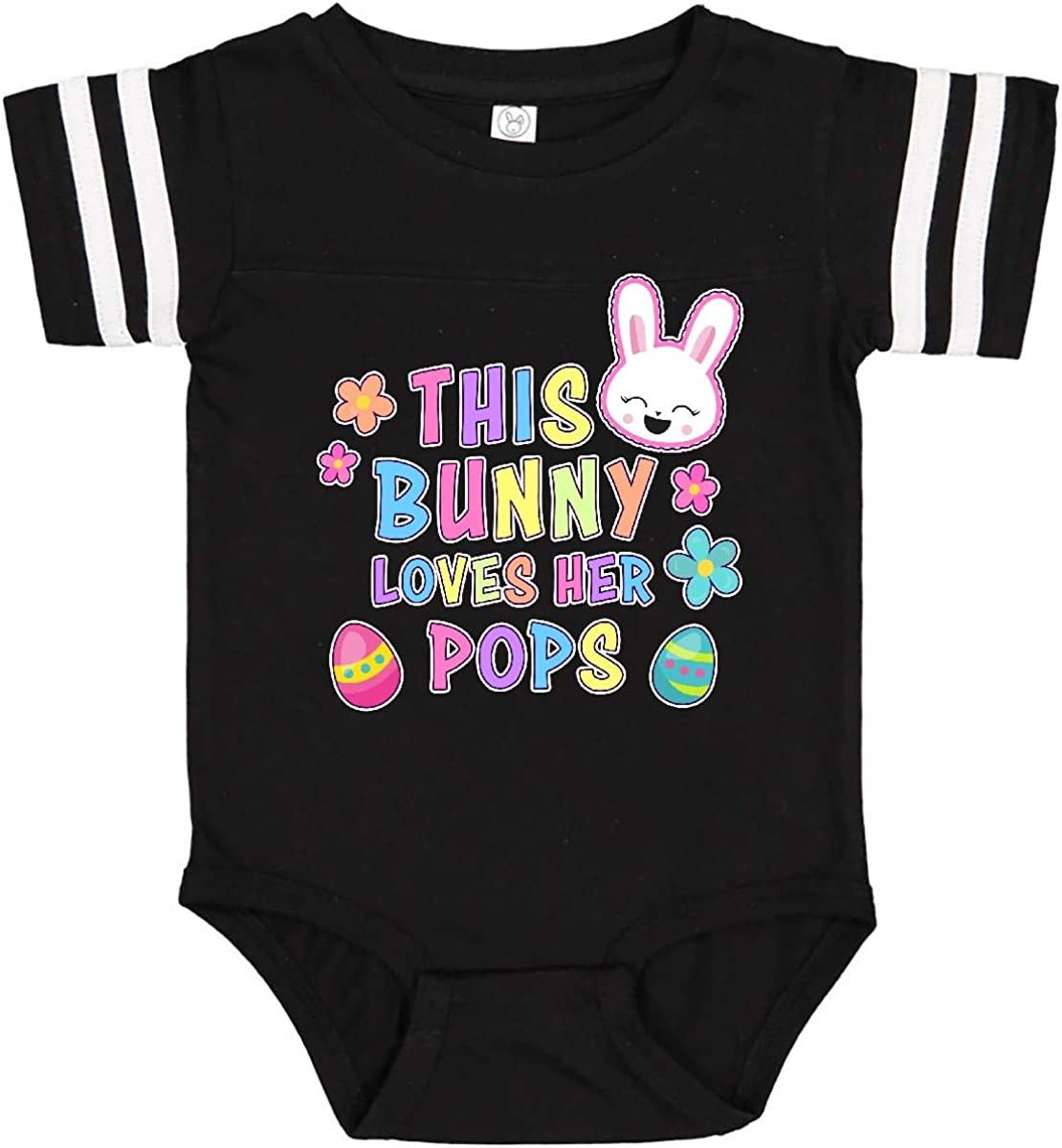 inktastic This Bunny Loves Her Pops with Bunny Face and Flowers Infant Creeper