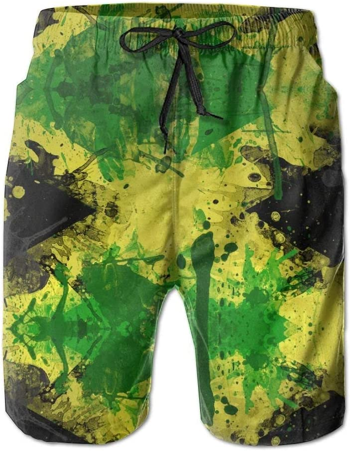 Ink Jamaica Flag Swim Beach Trunks Cargo Shorts for Mens