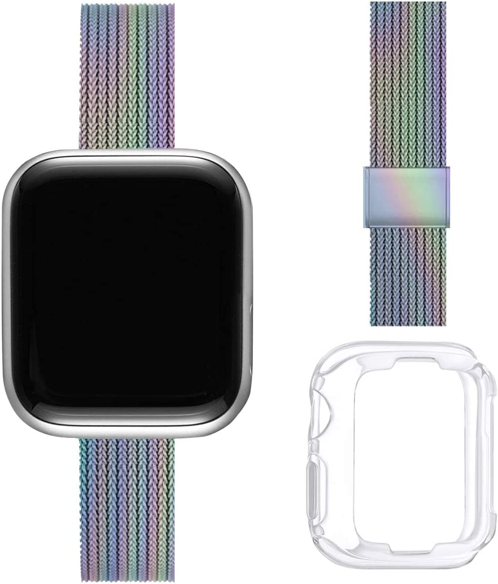 ZXCASD Slim Watch Band Compatible with Apple Watch Band 38mm 40mm 42mm 44mm for Women Girls, Stainless Steel Mesh Strap Replacement for iWatch SE iwatch Series 6/5/4/3/2/1 (Colorful, 38mm 40mm)