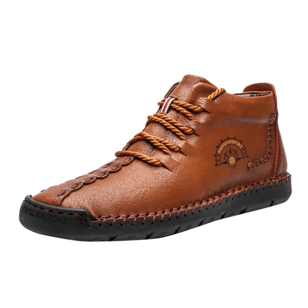 Gleamfut Men's Vintage Lace Up Flat Shoes Leather Plus Cotton Solid Color Lace-up Low-Top Leather Shoes Khaki by Gleamfut