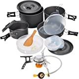 Hisea 18pcs Camping Cookware Set Portable Lightweight Outdoor Cookset Cooking Pot Pan Bowl Mess Kit for 4-5 persons Travel Backpacking Hiking Trekking BBQ(A Gas Stove optional)