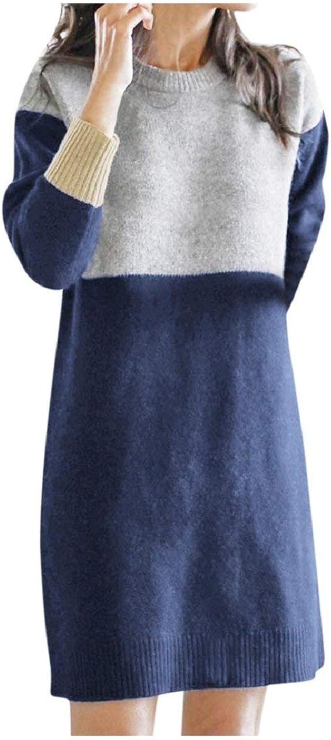 DEELIN Vestido Mujer Invierno Casual Fiesta O-Cuello Suelto ...