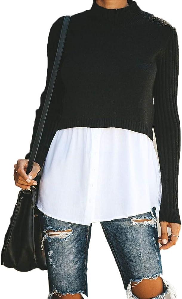 Wahyou Suéter para Mujer Jersey, Mujer Manga Larga Sudaderas Sexy Camisas Mujer, Nuevo Blusas para Mujer Camiseta Tops elásticas de Manga Larga Diaria Blusas Talla Grande: Amazon.es: Ropa y accesorios