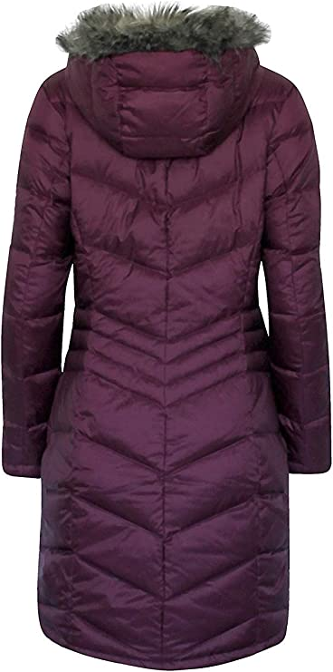 Ladies Lightly Padded Quilted Hooded Purple Duffel Coat Jacket New