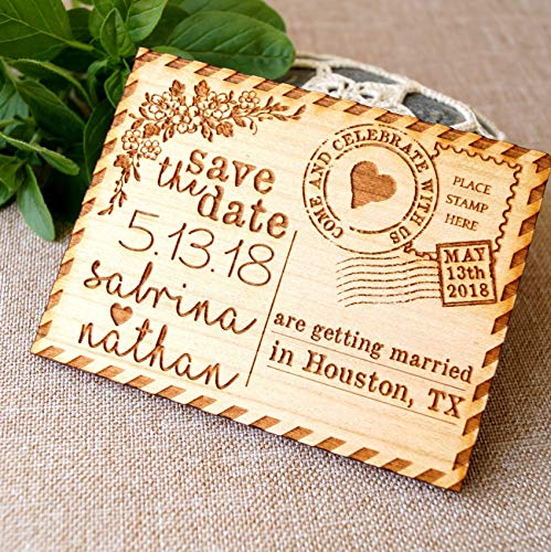 Save the date, save the date magnet, rustic save the date, save the dates, wood save the date magnet, postcard save the dates, set of 10 pc (Wood Date Save The)