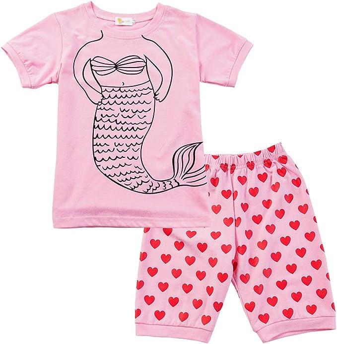 Conjunto Pijama Verano Pijama Flamenco/Sirena Niña Pijama Algodon 100% Manga Corta Tops y Pantalones Cortos 2 Piezas: Amazon.es: Ropa y accesorios