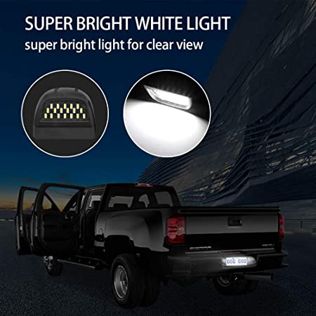 Enhanced Visibility and Long Life Service Waterproof White LED License Plate Light with Red Running Lamp Replacement for Chevrolet and GMC Trucks