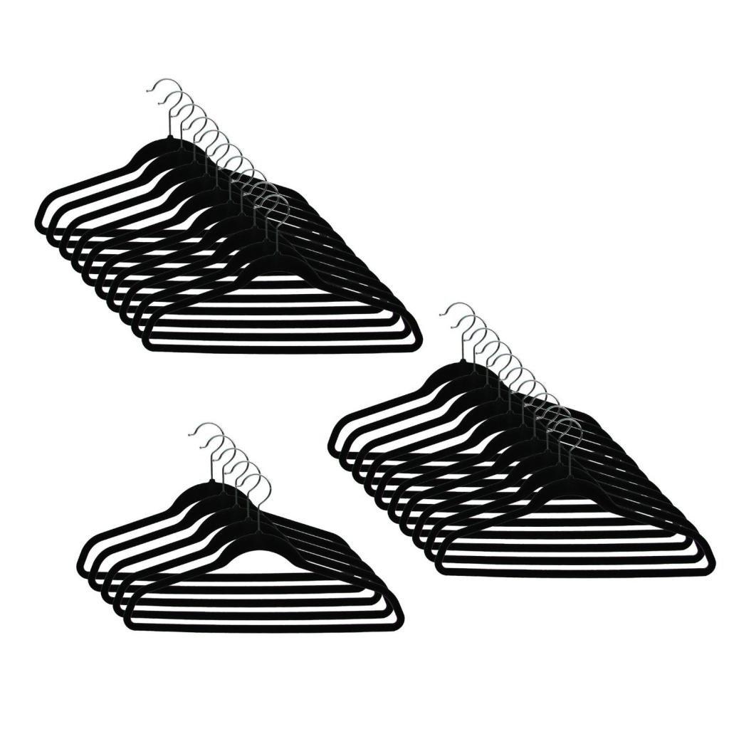 Sodynee Ultra Thin Non-Slip Velvet Clothes Hanger, Pack of 50, Black