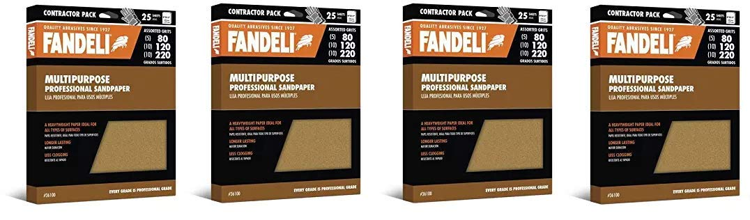 Fandeli 36100 Assorted Grits (80, 120, 220) Multipurpose Sandpaper Sheets, 9'' x 11'', 25-Sheet (1) (Fоur Расk)