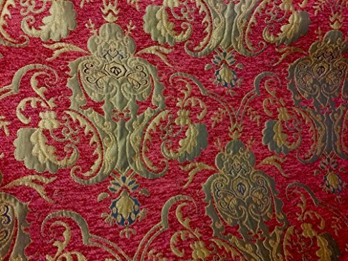 Chenille Damask Fabric, Color Red/gold, Sold By the Yard - Damask Fabric