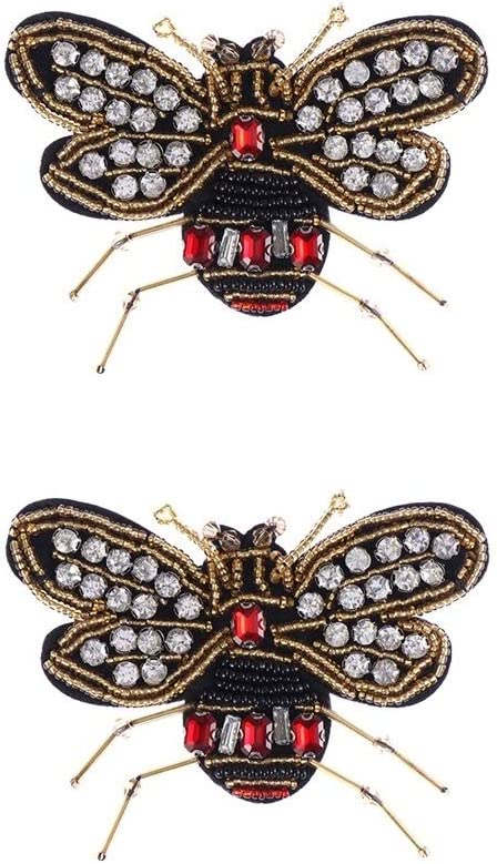Sewing /& Fabric Beaded Bee Badge Crystal Applique Sequin Patches Sew on Patch