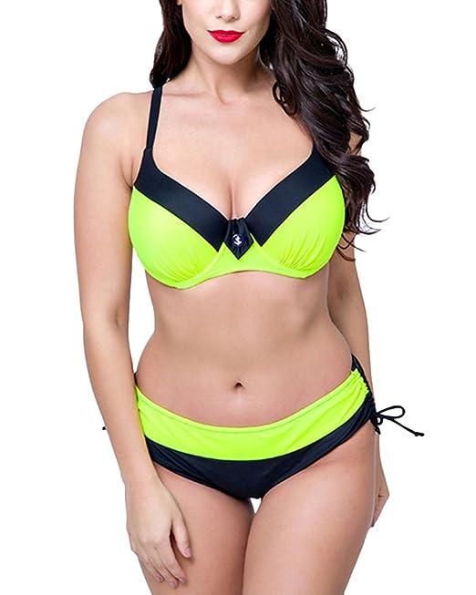 Mujer Casual 2 Piezas Traje De Baño Playa Set Bikini Tallas ...