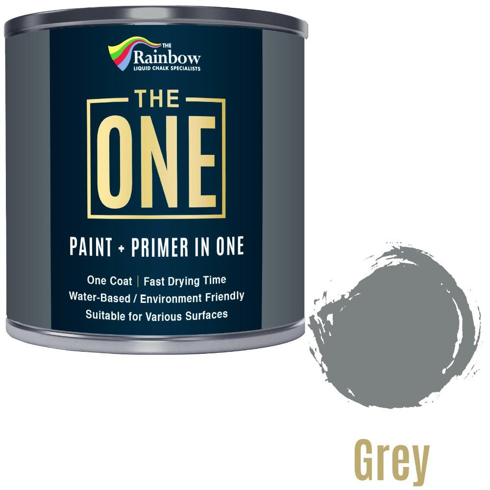 Una pintura, una capa, Multi superficie pintura para madera, metal, plá stico, interior, exterior, gris, saté n, 1 L plástico satén 1L Rainbow Chalk