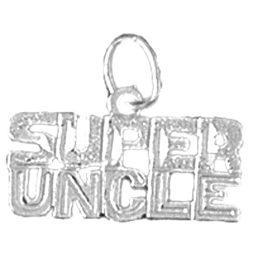 Jewels Obsession Super Uncle Charm Pendant 13 mm 14K White Gold Super Uncle Pendant