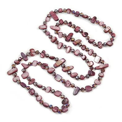 Long Multistrand Pink Salmon, Coral and Bronze Glass/Acrylic Bead Necklace - 90cm L